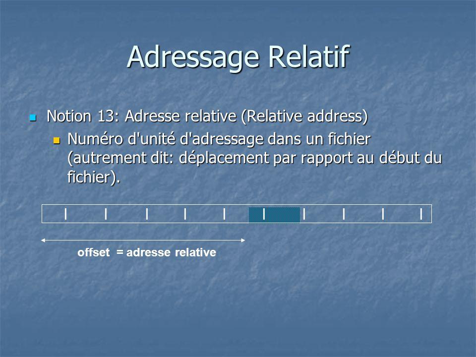 |||||||||||||||||||| offset = adresse relative Adressage Relatif Notion 13: Adresse relative (Relative address) Notion 13: Adresse relative (Relative address) Numéro d unité d adressage dans un fichier (autrement dit: déplacement par rapport au début du fichier).