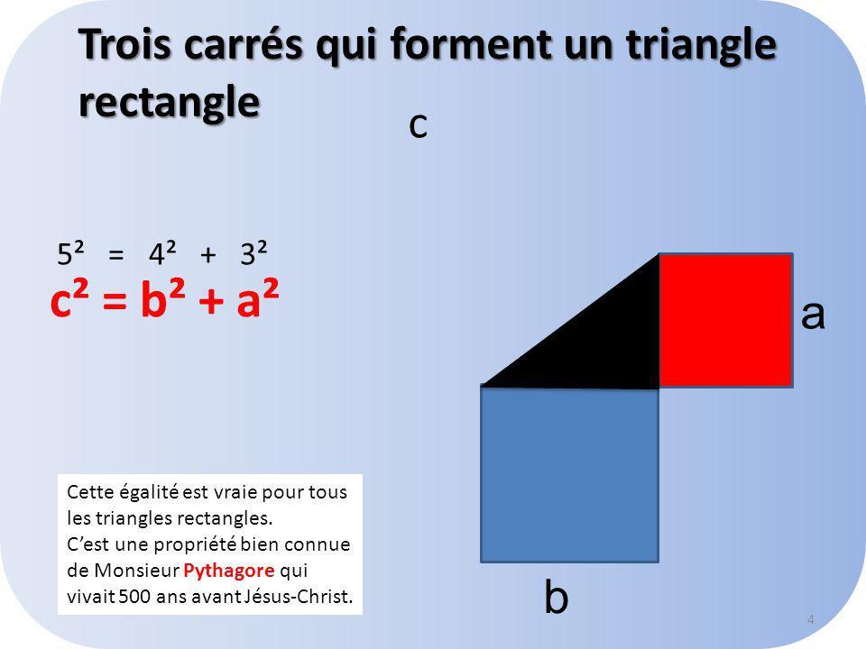 5² = 4² + 3² c a b Cette égalité est vraie pour tous les triangles rectangles.
