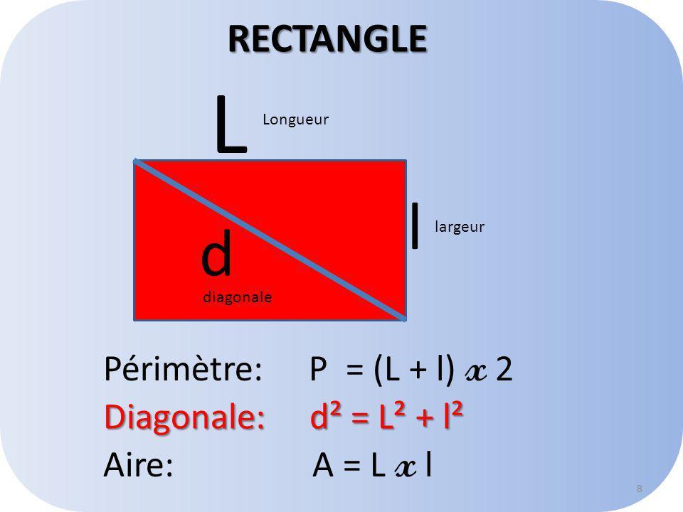 RECTANGLE L l d Périmètre: P = (L + l) x 2 8 Diagonale: d² = L² + l² Aire: A = L x l Longueur largeur diagonale