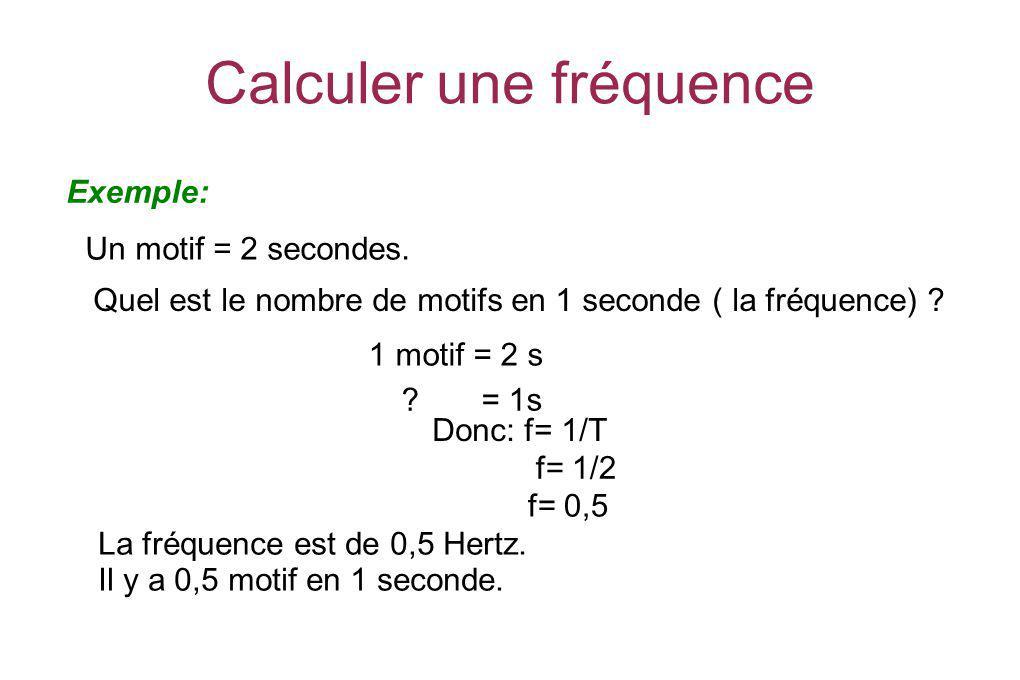 Calculer une fréquence Exemple: Un motif = 2 secondes. Quel est le nombre de motifs en 1 seconde ( la fréquence) ? ? = 1s Donc: f= 1/T f= 1/2 f= 0,5 L