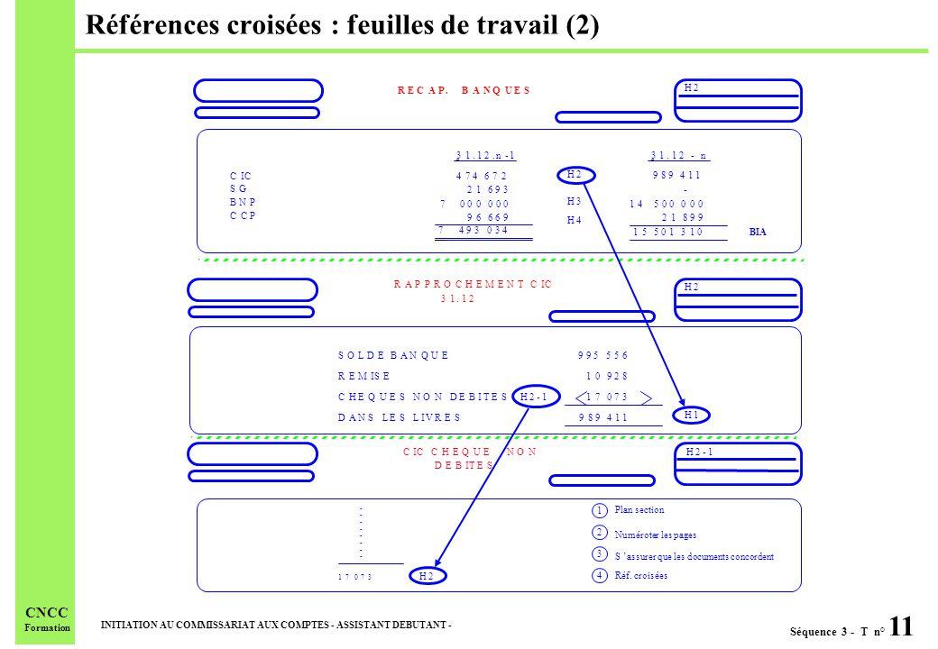 Séquence 3 - T n° 11 INITIATION AU COMMISSARIAT AUX COMPTES - ASSISTANT DEBUTANT - CNCC Formation Références croisées : feuilles de travail (2)