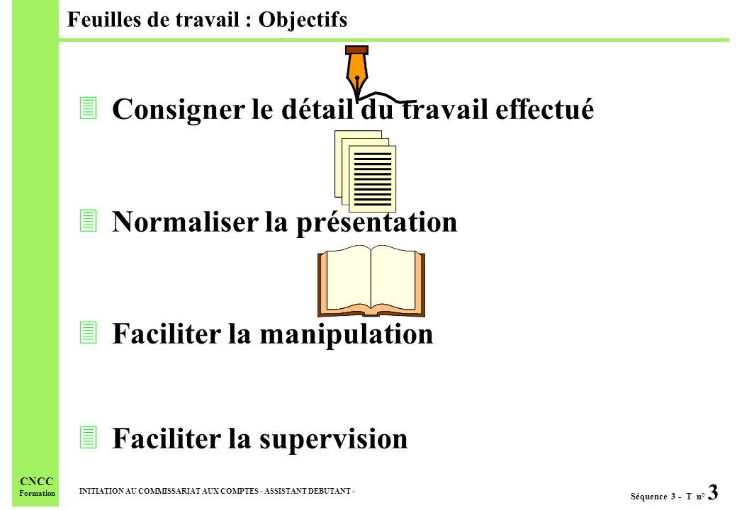 Séquence 3 - T n° 3 INITIATION AU COMMISSARIAT AUX COMPTES - ASSISTANT DEBUTANT - CNCC Formation 3Consigner le détail du travail effectué 3Normaliser la présentation 3Faciliter la manipulation 3Faciliter la supervision Feuilles de travail : Objectifs