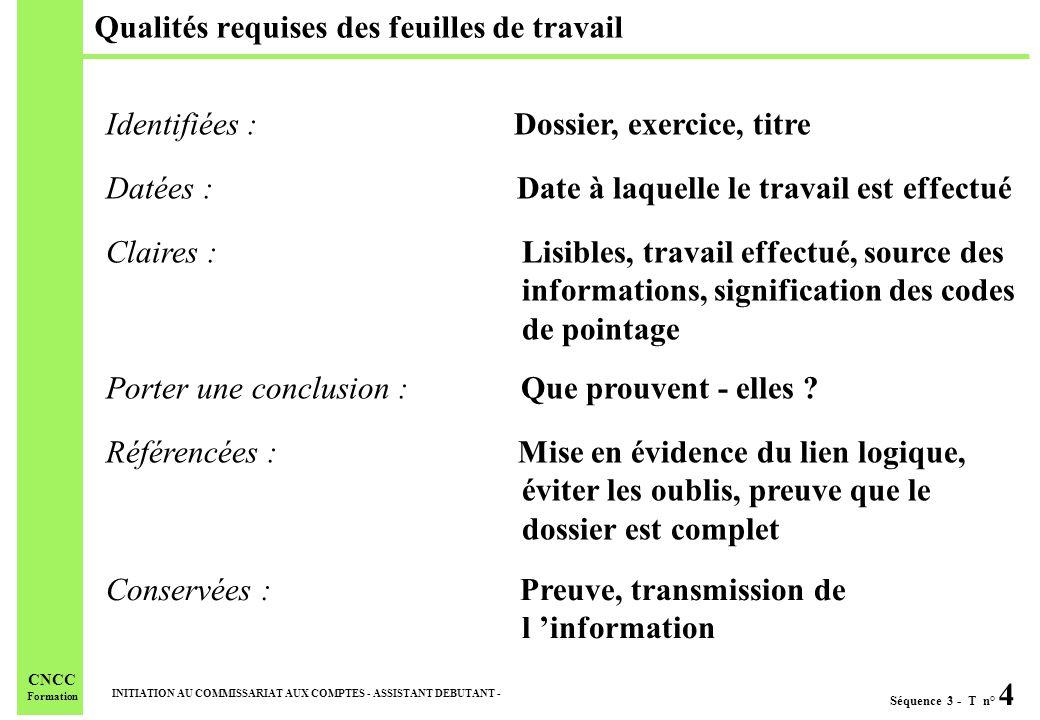 Séquence 3 - T n° 4 INITIATION AU COMMISSARIAT AUX COMPTES - ASSISTANT DEBUTANT - CNCC Formation Qualités requises des feuilles de travail Conservées