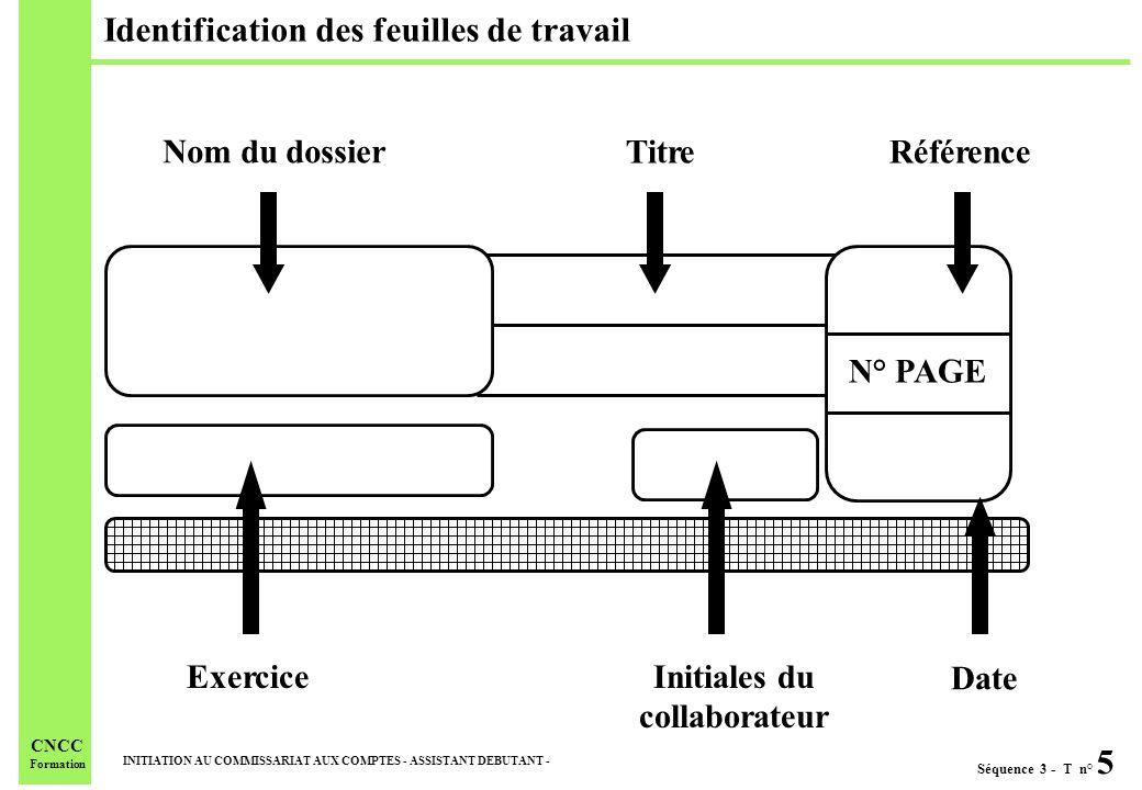 Séquence 3 - T n° 5 INITIATION AU COMMISSARIAT AUX COMPTES - ASSISTANT DEBUTANT - CNCC Formation Identification des feuilles de travail ExerciceInitia