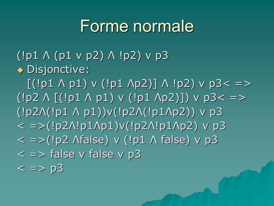 Forme normale (!p1 Λ (p1 v p2) Λ !p2) v p3 Disjonctive: Disjonctive: [(!p1 Λ p1) v (!p1 Λp2)] Λ !p2) v p3 [(!p1 Λ p1) v (!p1 Λp2)] Λ !p2) v p3 (!p2 Λ [(!p1 Λ p1) v (!p1 Λp2)]) v p3 (!p2 Λ [(!p1 Λ p1) v (!p1 Λp2)]) v p3 (!p2Λ(!p1 Λ p1))v(!p2Λ(!p1Λp2)) v p3 (!p2Λ!p1Λp1)v(!p2Λ!p1Λp2) v p3 (!p2Λ!p1Λp1)v(!p2Λ!p1Λp2) v p3 (!p2 Λfalse) v (!p1 Λ false) v p3 (!p2 Λfalse) v (!p1 Λ false) v p3 false v false v p3 false v false v p3 p3 p3