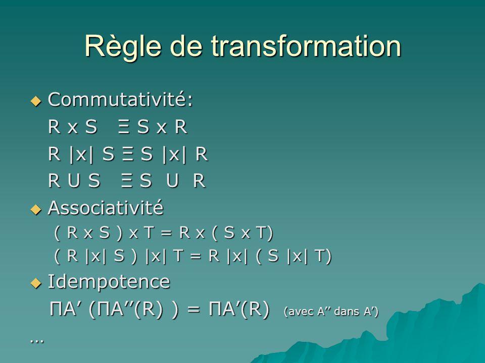 Règle de transformation Commutativité: Commutativité: R x S Ξ S x R R |x| S Ξ S |x| R R U S Ξ S U R Associativité Associativité ( R x S ) x T = R x ( S x T) ( R |x| S ) |x| T = R |x| ( S |x| T) Idempotence Idempotence ΠA (ΠA(R) ) = ΠA(R) (avec A dans A) ΠA (ΠA(R) ) = ΠA(R) (avec A dans A)…
