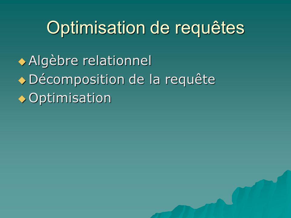 Optimisation de requêtes Algèbre relationnel Algèbre relationnel Décomposition de la requête Décomposition de la requête Optimisation Optimisation