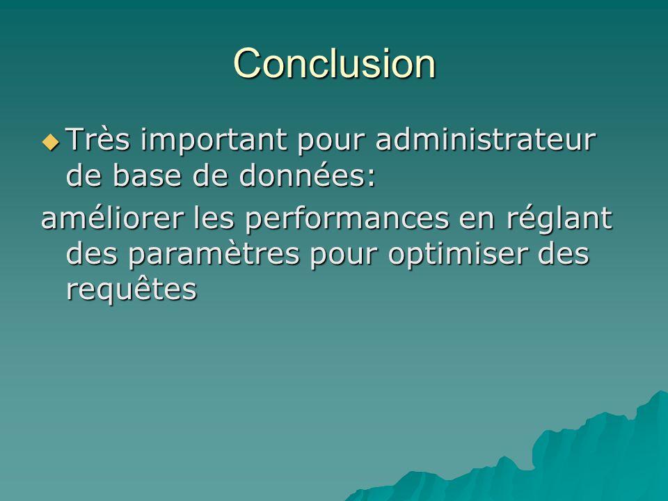 Conclusion Très important pour administrateur de base de données: Très important pour administrateur de base de données: améliorer les performances en réglant des paramètres pour optimiser des requêtes