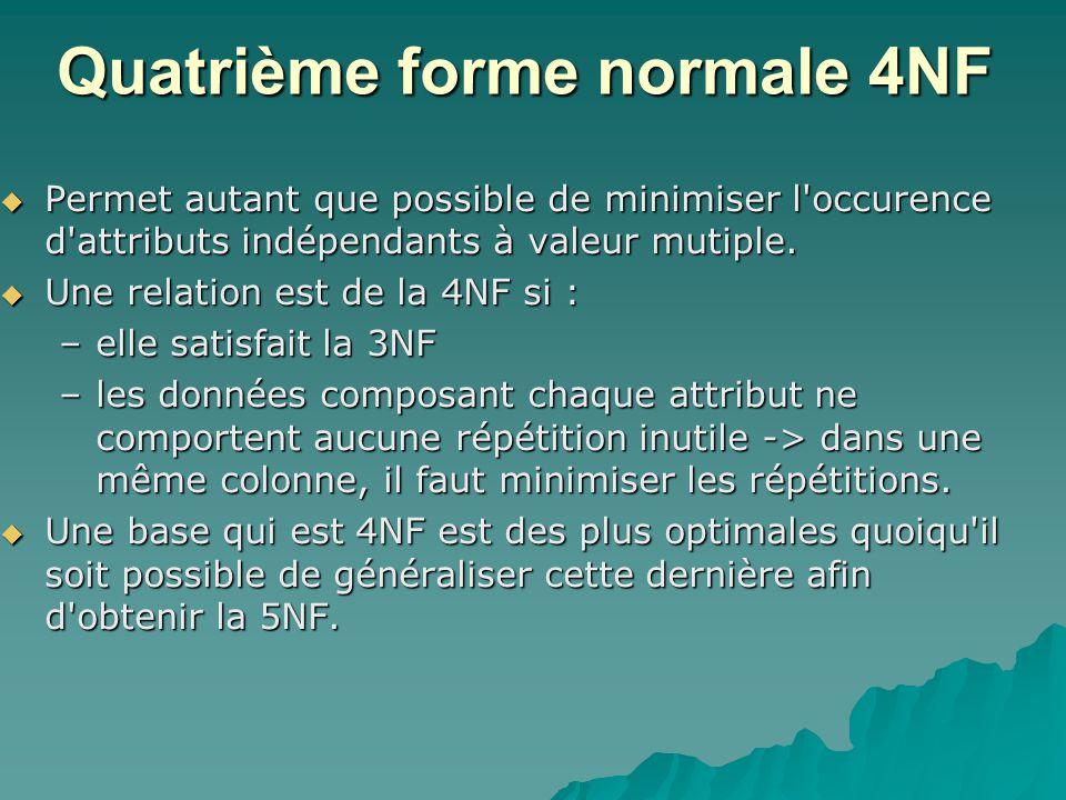 Quatrième forme normale 4NF Permet autant que possible de minimiser l occurence d attributs indépendants à valeur mutiple.