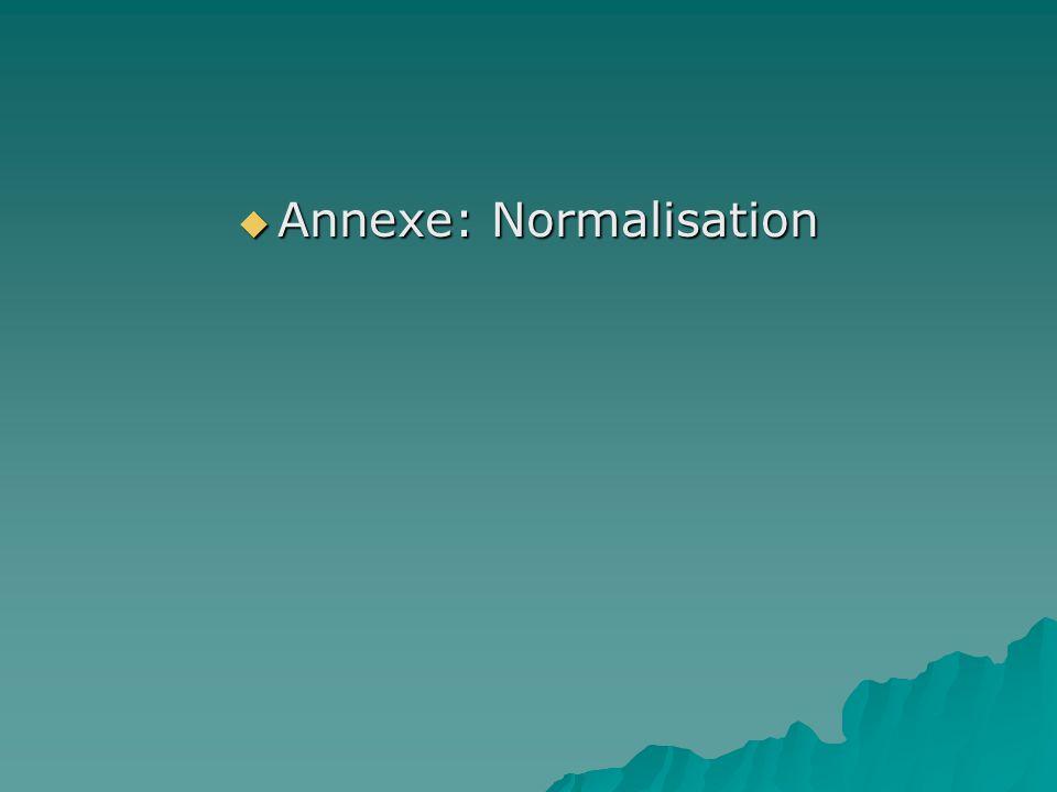 Annexe: Normalisation Annexe: Normalisation