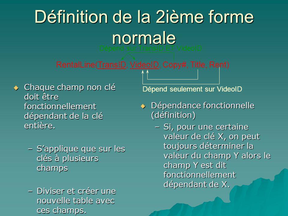 Définition de la 2ième forme normale Chaque champ non clé doit être fonctionnellement dépendant de la clé entière.