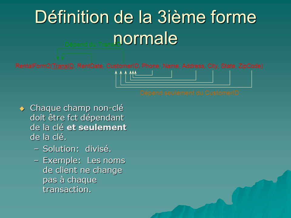Définition de la 3ième forme normale RentalForm2(TransID, RentDate, CustomerID, Phone, Name, Address, City, State, ZipCode) Chaque champ non-clé doit être fct dépendant de la clé et seulement de la clé.