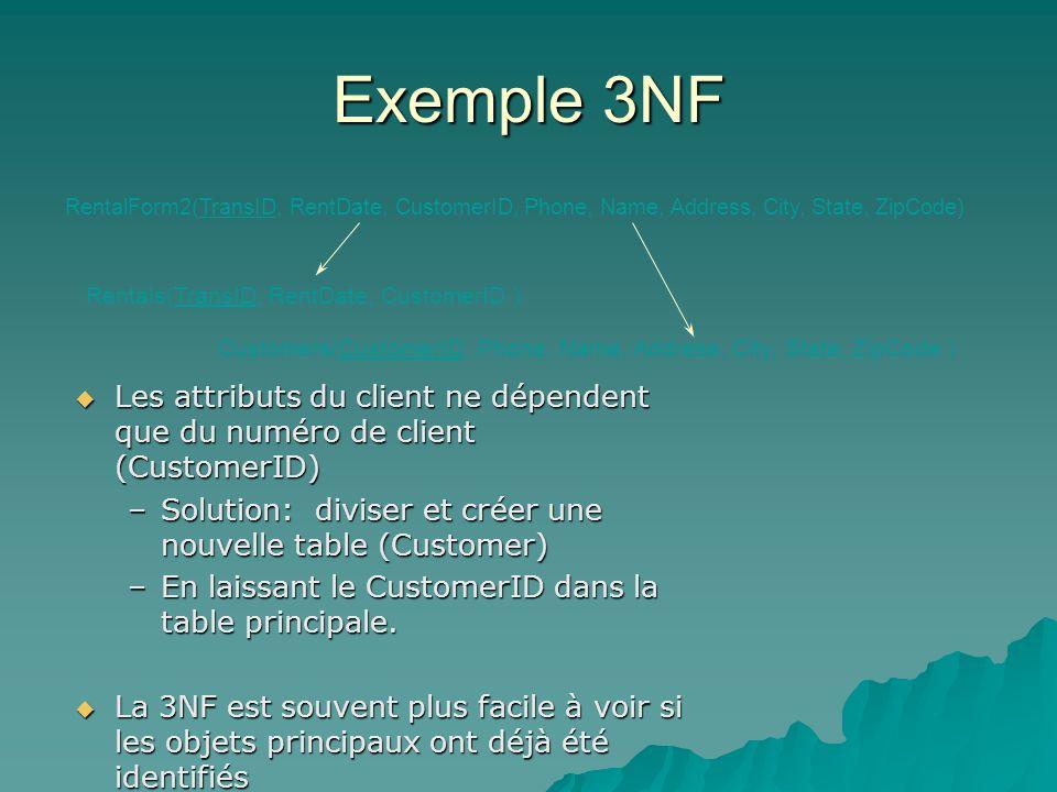 Exemple 3NF Les attributs du client ne dépendent que du numéro de client (CustomerID) Les attributs du client ne dépendent que du numéro de client (CustomerID) –Solution: diviser et créer une nouvelle table (Customer) –En laissant le CustomerID dans la table principale.