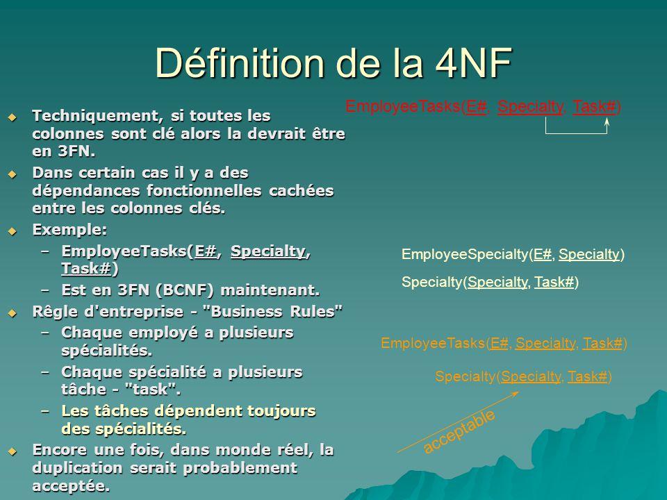 Définition de la 4NF Techniquement, si toutes les colonnes sont clé alors la devrait être en 3FN.