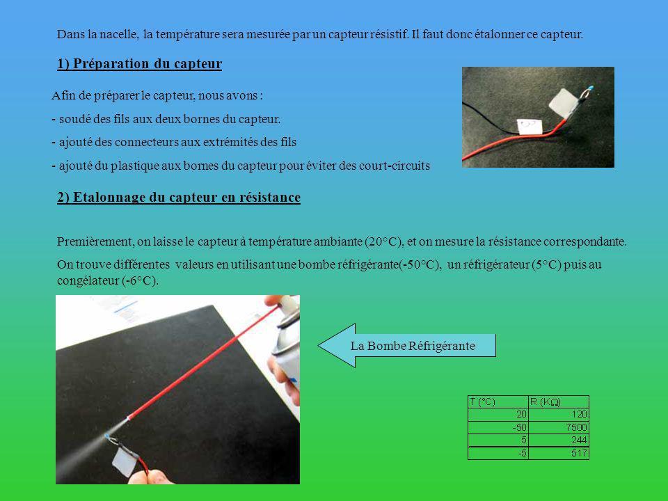 1) Préparation du capteur Afin de préparer le capteur, nous avons : - soudé des fils aux deux bornes du capteur.