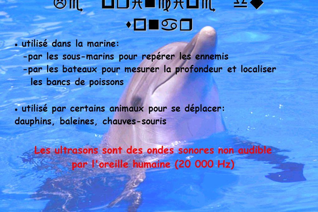 Le principe du sonar utilisé dans la marine: -par les sous-marins pour repérer les ennemis -par les bateaux pour mesurer la profondeur et localiser les bancs de poissons utilisé par certains animaux pour se déplacer: dauphins, baleines, chauves-souris Les ultrasons sont des ondes sonores non audible par l oreille humaine (20 000 Hz)