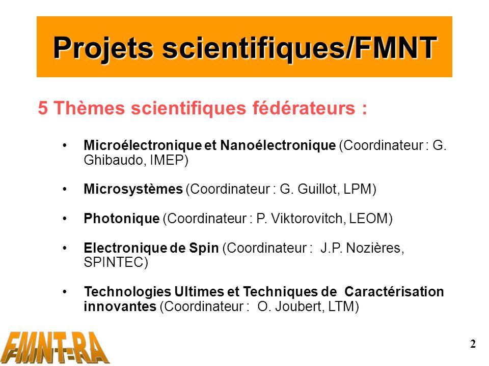 2 Projets scientifiques/FMNT 5 Thèmes scientifiques fédérateurs : Microélectronique et Nanoélectronique (Coordinateur : G.