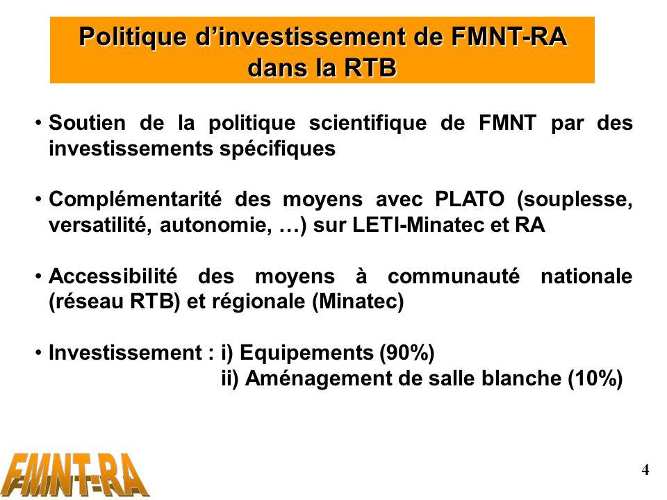 4 Politique dinvestissement de FMNT-RA dans la RTB Soutien de la politique scientifique de FMNT par des investissements spécifiques Complémentarité des moyens avec PLATO (souplesse, versatilité, autonomie, …) sur LETI-Minatec et RA Accessibilité des moyens à communauté nationale (réseau RTB) et régionale (Minatec) Investissement : i) Equipements (90%) ii) Aménagement de salle blanche (10%)