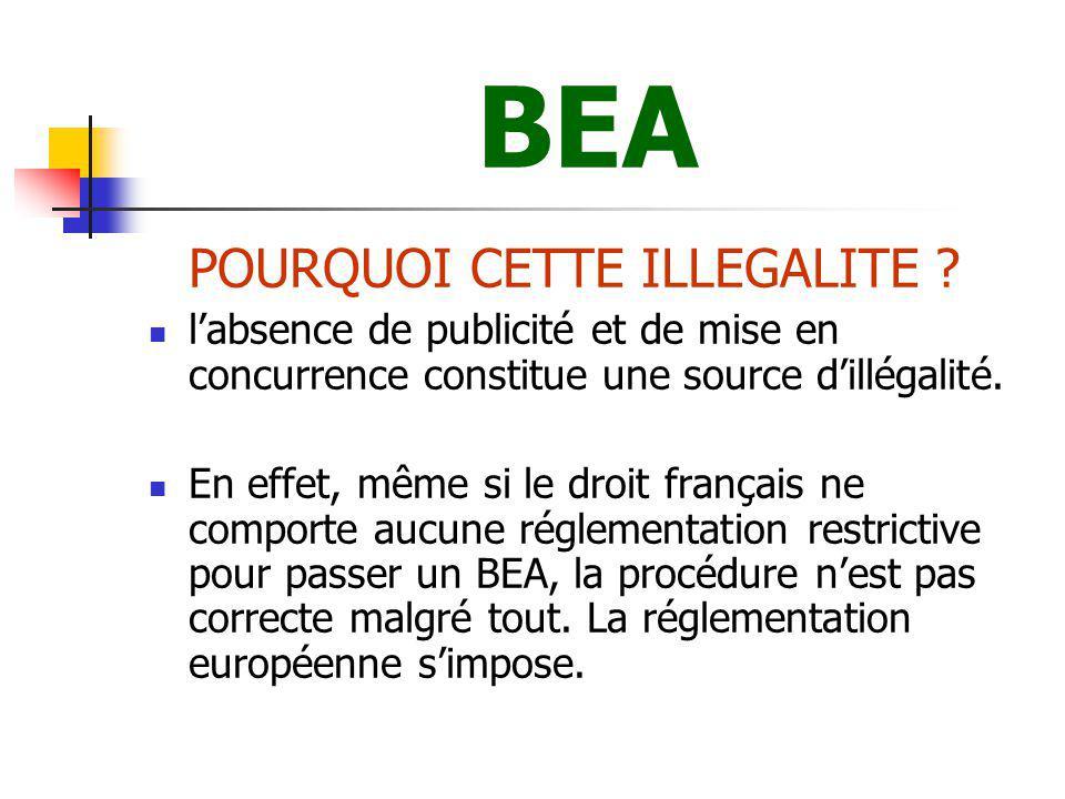 BEA Ainsi, et même en l absence de prescription expresse du droit français, les collectivités publiques doivent-elles choisir leur partenaire contractuel en respectant des formalités minimales, et préalables, de publicité et de mise en concurrence.