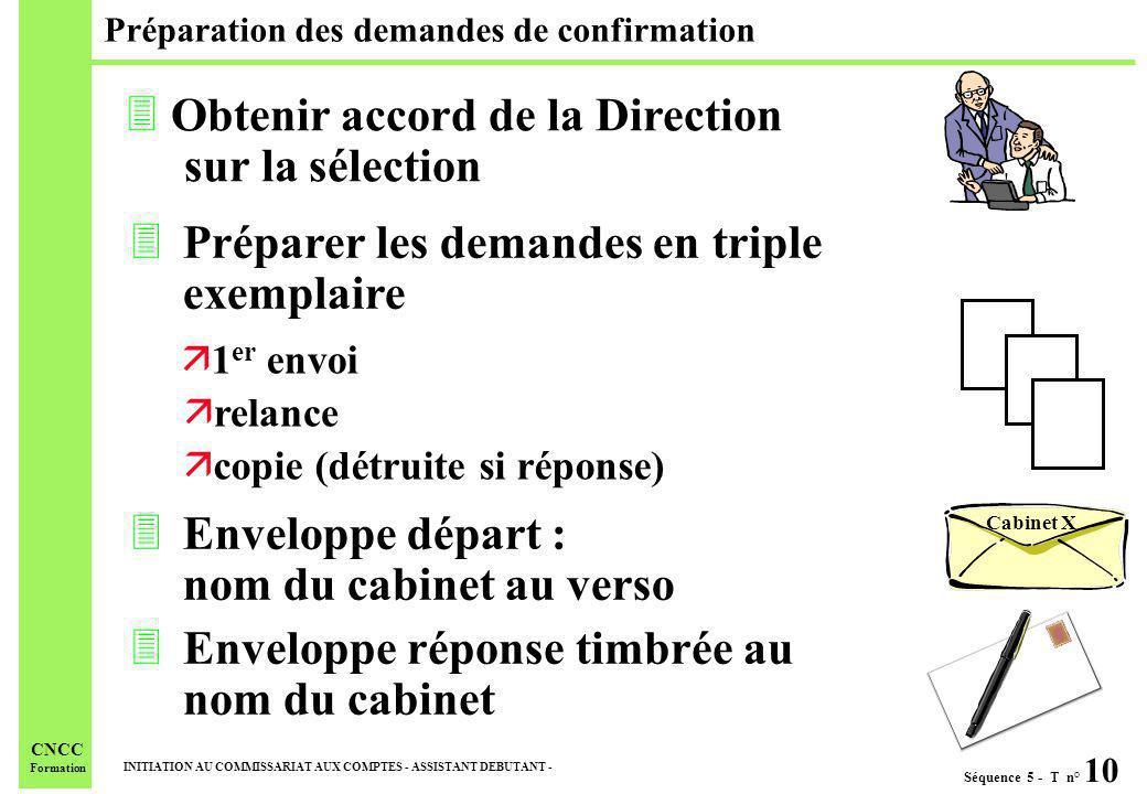 Séquence 5 - T n° 10 INITIATION AU COMMISSARIAT AUX COMPTES - ASSISTANT DEBUTANT - CNCC Formation Préparation des demandes de confirmation 3Préparer l