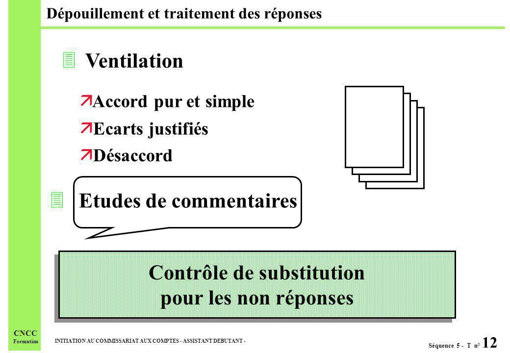 Séquence 5 - T n° 12 INITIATION AU COMMISSARIAT AUX COMPTES - ASSISTANT DEBUTANT - CNCC Formation Dépouillement et traitement des réponses 3 Etudes de