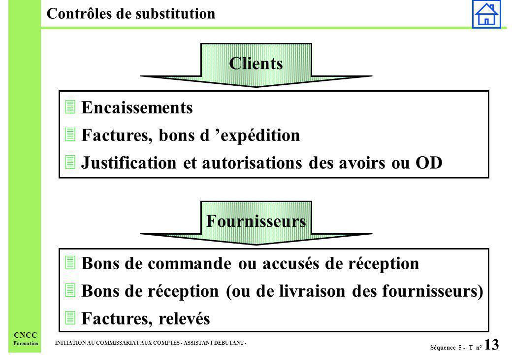 Séquence 5 - T n° 13 INITIATION AU COMMISSARIAT AUX COMPTES - ASSISTANT DEBUTANT - CNCC Formation Contrôles de substitution 3 Bons de commande ou accu