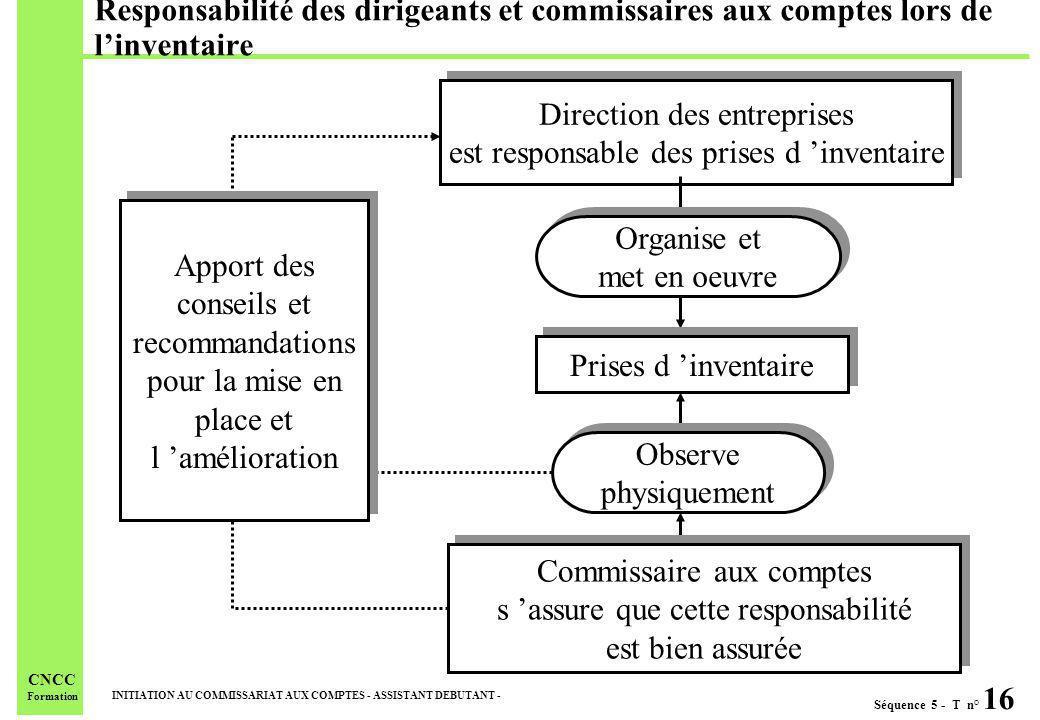 Séquence 5 - T n° 16 INITIATION AU COMMISSARIAT AUX COMPTES - ASSISTANT DEBUTANT - CNCC Formation Responsabilité des dirigeants et commissaires aux co