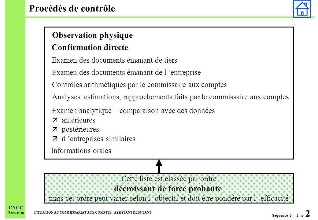 Séquence 5 - T n° 2 INITIATION AU COMMISSARIAT AUX COMPTES - ASSISTANT DEBUTANT - CNCC Formation Procédés de contrôle Cette liste est classée par ordr