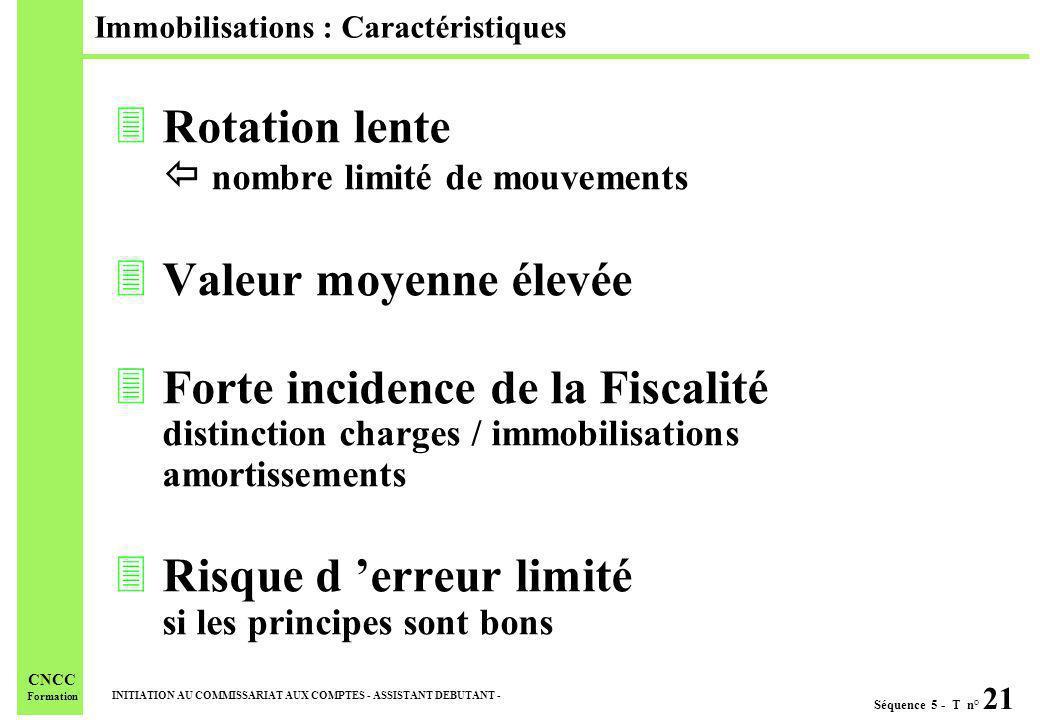 Séquence 5 - T n° 21 INITIATION AU COMMISSARIAT AUX COMPTES - ASSISTANT DEBUTANT - CNCC Formation Immobilisations : Caractéristiques 3Rotation lente n