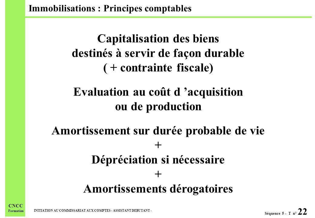 Séquence 5 - T n° 22 INITIATION AU COMMISSARIAT AUX COMPTES - ASSISTANT DEBUTANT - CNCC Formation Immobilisations : Principes comptables Capitalisatio