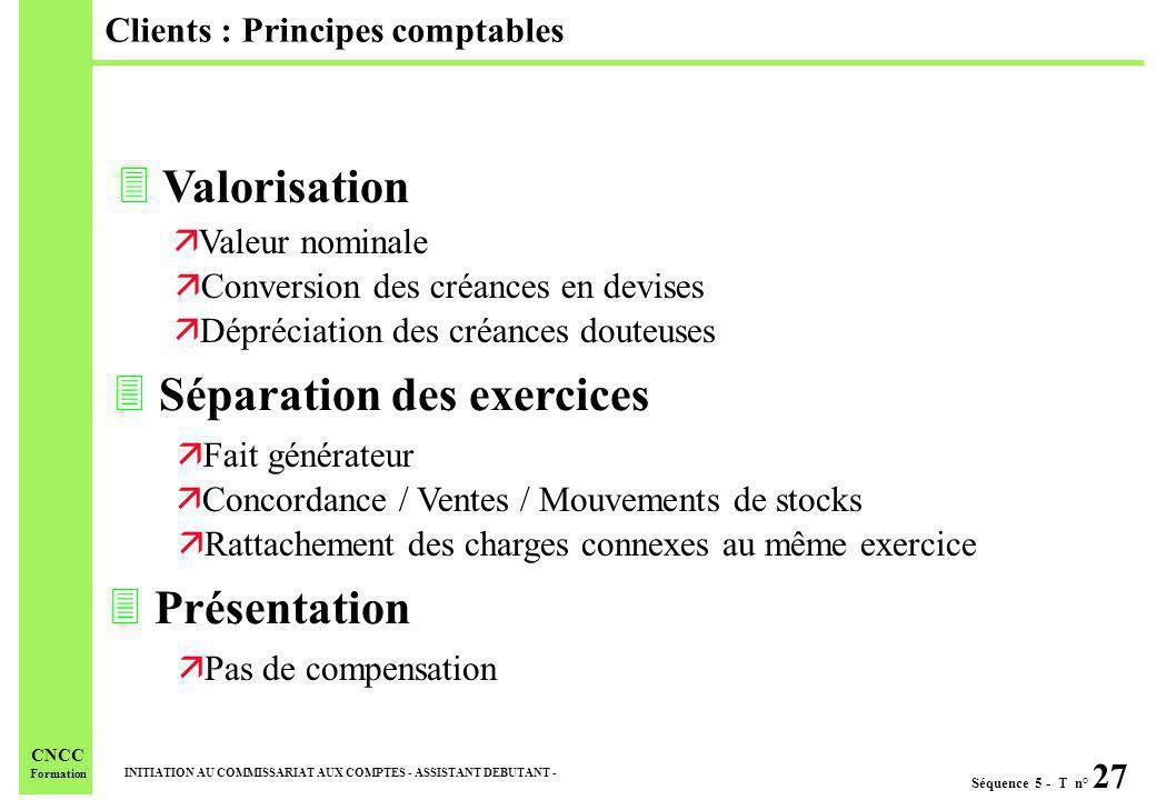 Séquence 5 - T n° 27 INITIATION AU COMMISSARIAT AUX COMPTES - ASSISTANT DEBUTANT - CNCC Formation Clients : Principes comptables 3 Valorisation ä Vale