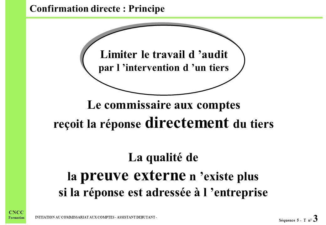 Séquence 5 - T n° 3 INITIATION AU COMMISSARIAT AUX COMPTES - ASSISTANT DEBUTANT - CNCC Formation Confirmation directe : Principe Limiter le travail d