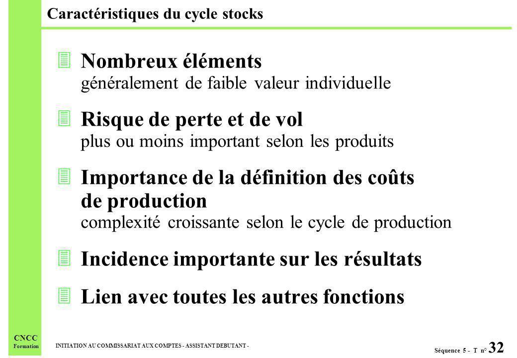Séquence 5 - T n° 32 INITIATION AU COMMISSARIAT AUX COMPTES - ASSISTANT DEBUTANT - CNCC Formation Caractéristiques du cycle stocks 3Nombreux éléments