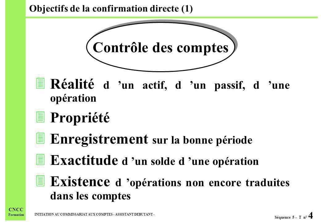 Séquence 5 - T n° 4 INITIATION AU COMMISSARIAT AUX COMPTES - ASSISTANT DEBUTANT - CNCC Formation Objectifs de la confirmation directe (1) 3Réalité d u