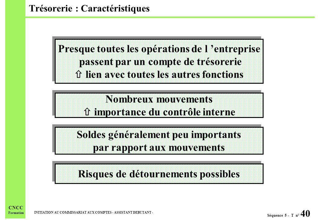 Séquence 5 - T n° 40 INITIATION AU COMMISSARIAT AUX COMPTES - ASSISTANT DEBUTANT - CNCC Formation Trésorerie : Caractéristiques Presque toutes les opé