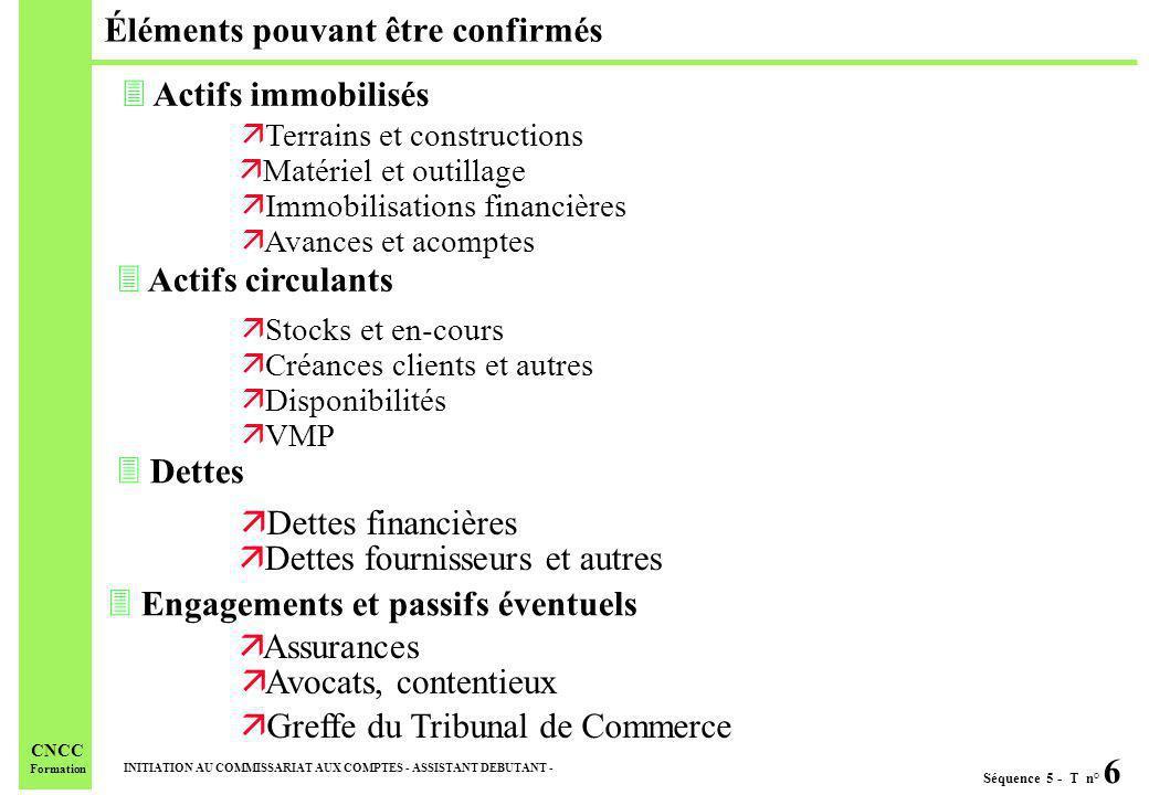Séquence 5 - T n° 6 INITIATION AU COMMISSARIAT AUX COMPTES - ASSISTANT DEBUTANT - CNCC Formation Éléments pouvant être confirmés 3 Actifs immobilisés