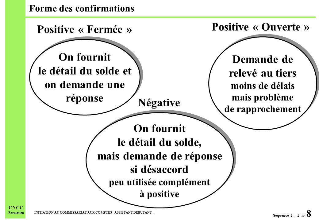 Séquence 5 - T n° 8 INITIATION AU COMMISSARIAT AUX COMPTES - ASSISTANT DEBUTANT - CNCC Formation Forme des confirmations On fournit le détail du solde