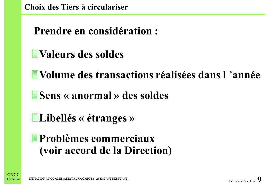 Séquence 5 - T n° 9 INITIATION AU COMMISSARIAT AUX COMPTES - ASSISTANT DEBUTANT - CNCC Formation 3Valeurs des soldes 3Volume des transactions réalisée