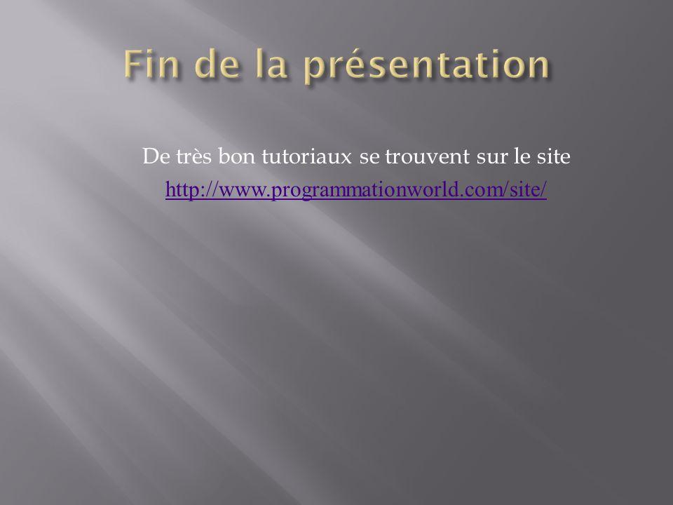 De très bon tutoriaux se trouvent sur le site http://www.programmationworld.com/site/