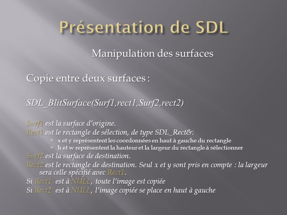 Manipulation des surfaces Copie entre deux surfaces : SDL_BlitSurface(Surf1,rect1,Surf2,rect2) Surf1 est la surface dorigine. Rect1 est le rectangle d