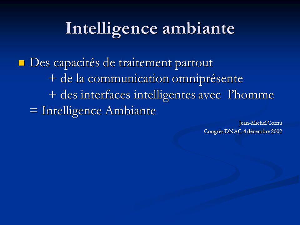 Intelligence ambiante Des capacités de traitement partout + de la communication omniprésente + des interfaces intelligentes avec lhomme = Intelligence