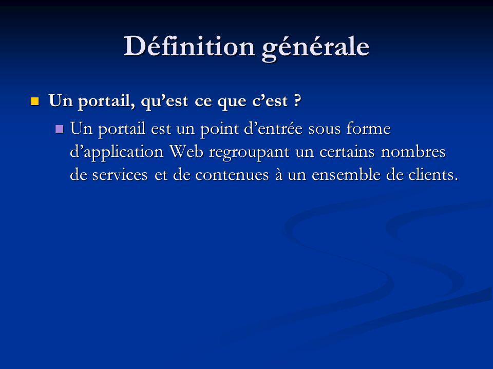 Définition générale Un portail, quest ce que cest .