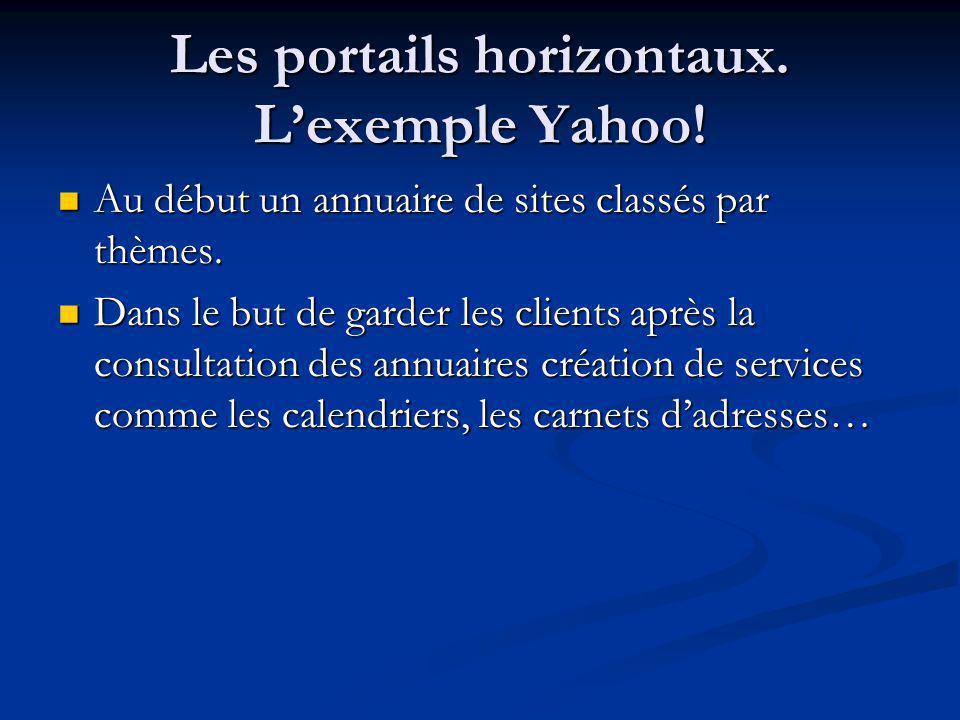 Les portails horizontaux. Lexemple Yahoo! Au début un annuaire de sites classés par thèmes. Au début un annuaire de sites classés par thèmes. Dans le