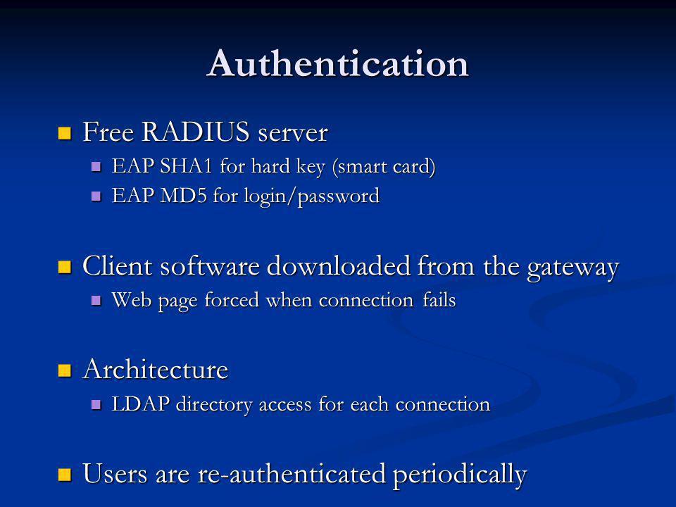 Authentication Free RADIUS server Free RADIUS server EAP SHA1 for hard key (smart card) EAP SHA1 for hard key (smart card) EAP MD5 for login/password EAP MD5 for login/password Client software downloaded from the gateway Client software downloaded from the gateway Web page forced when connection fails Web page forced when connection fails Architecture Architecture LDAP directory access for each connection LDAP directory access for each connection Users are re-authenticated periodically Users are re-authenticated periodically