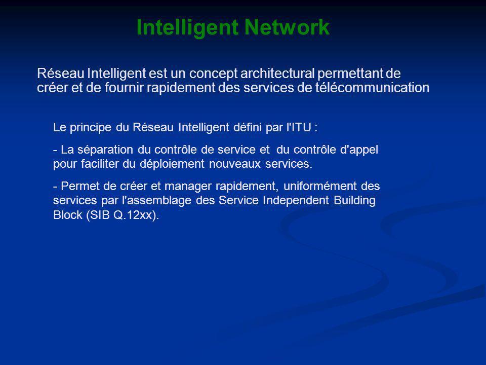 Intelligent Network Le principe du Réseau Intelligent défini par l ITU : - La séparation du contrôle de service et du contrôle d appel pour faciliter du déploiement nouveaux services.