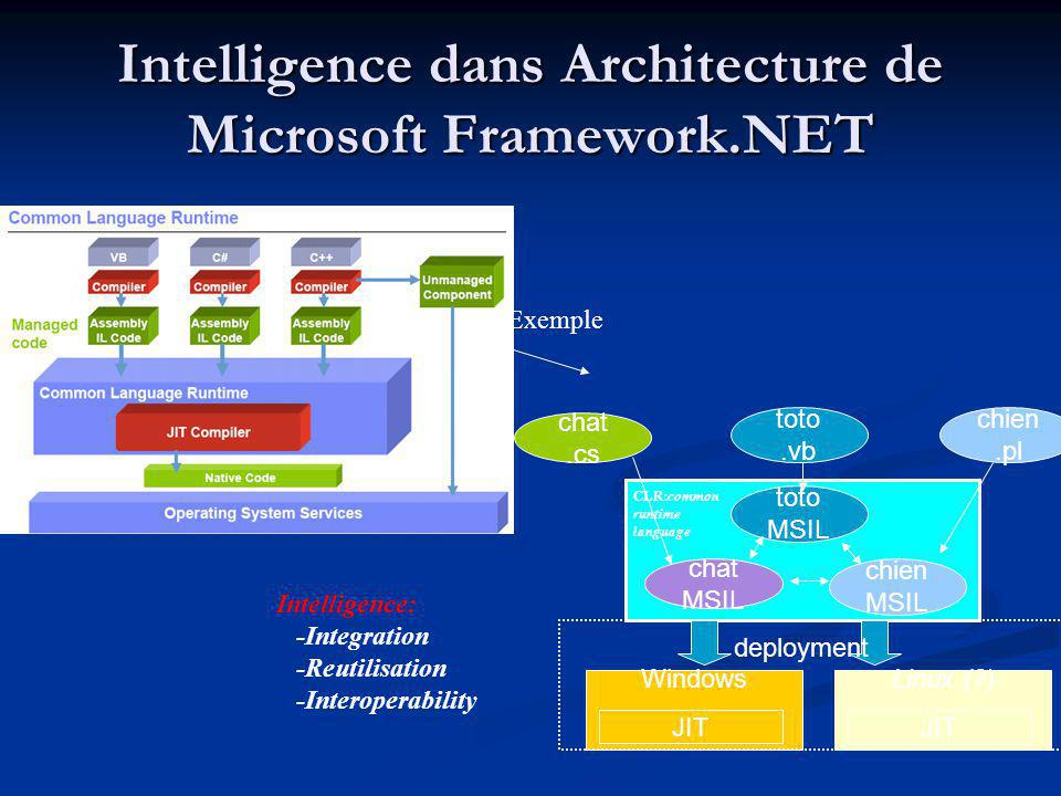 Intelligence dans Architecture de Microsoft Framework.NET Intelligence: -Integration -Reutilisation -Interoperability toto MSIL chat.cs chien MSIL cha