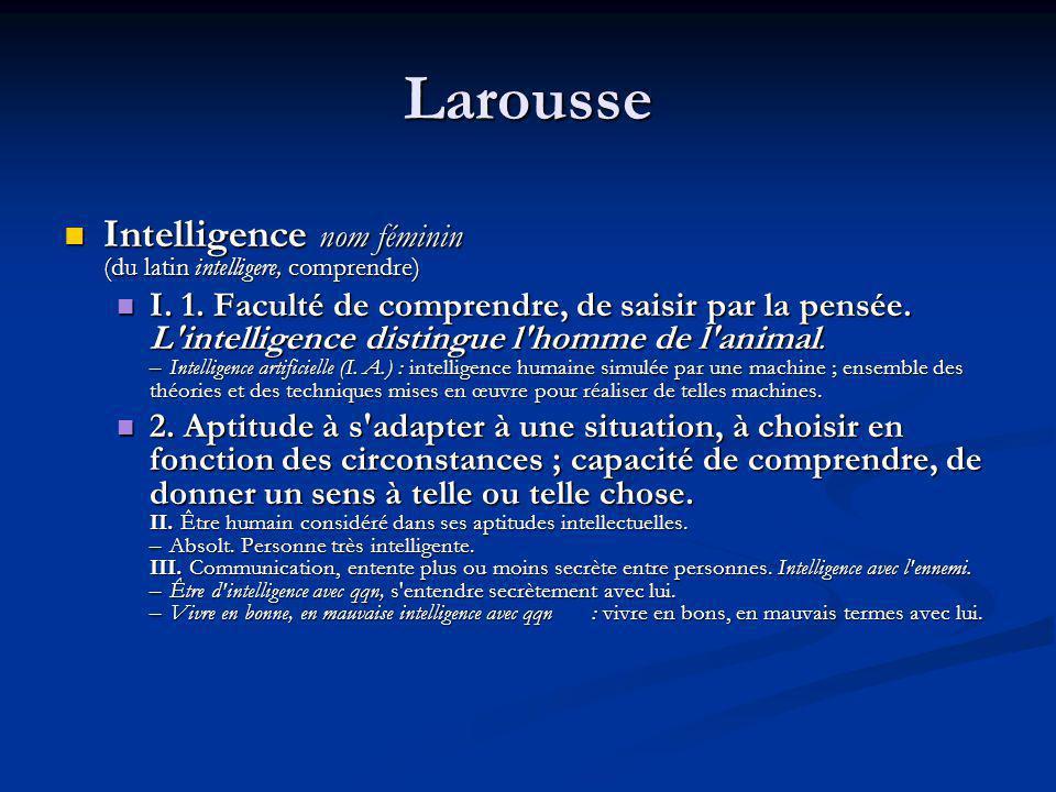Latin Intelligence de l homme peut se situer à plusieurs degrés.