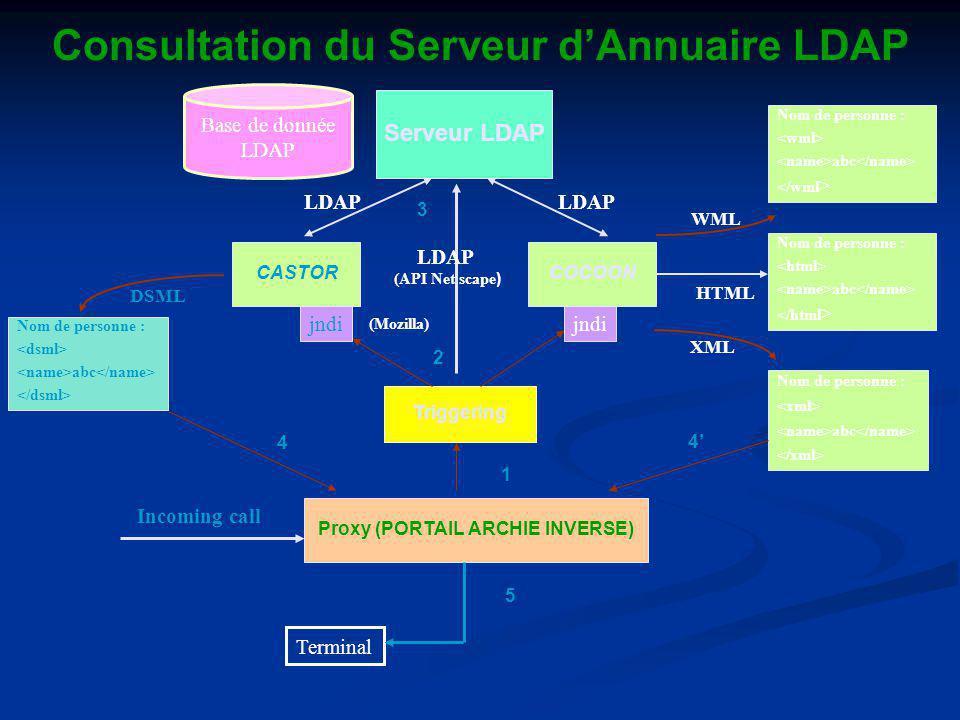 Triggering CASTOR Serveur LDAP Base de donnée LDAP COCOON jndi DSML XML WML Nom de personne : abc Nom de personne : abc Nom de personne : abc HTML Nom de personne : abc Incoming call Proxy (PORTAIL ARCHIE INVERSE) LDAP Terminal (Mozilla) 2 1 3 4 4 5 LDAP (API Net scape ) Consultation du Serveur dAnnuaire LDAP