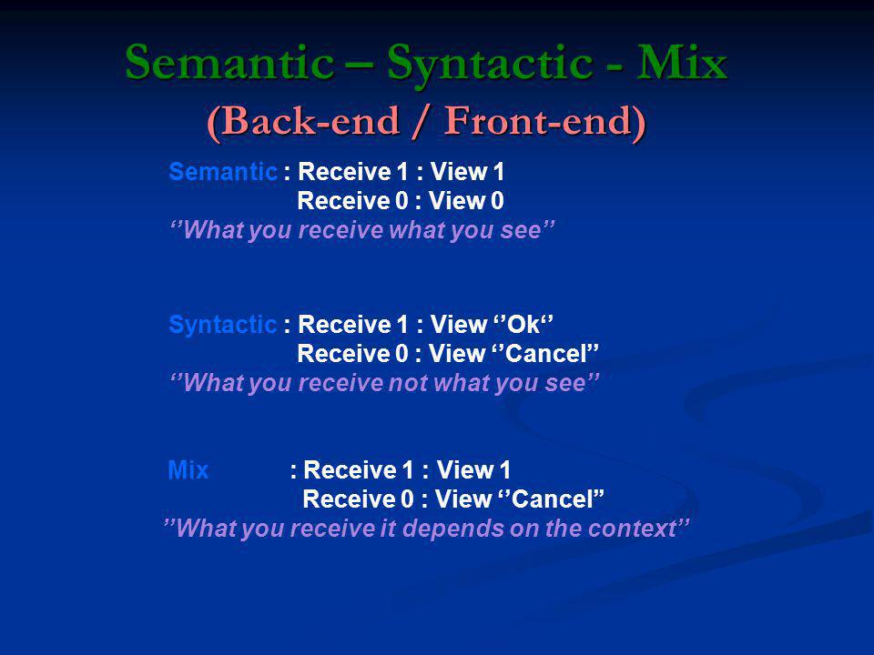 Semantic – Syntactic - Mix (Back-end / Front-end) Semantic : Receive 1 : View 1 Receive 0 : View 0 What you receive what you see Syntactic : Receive 1