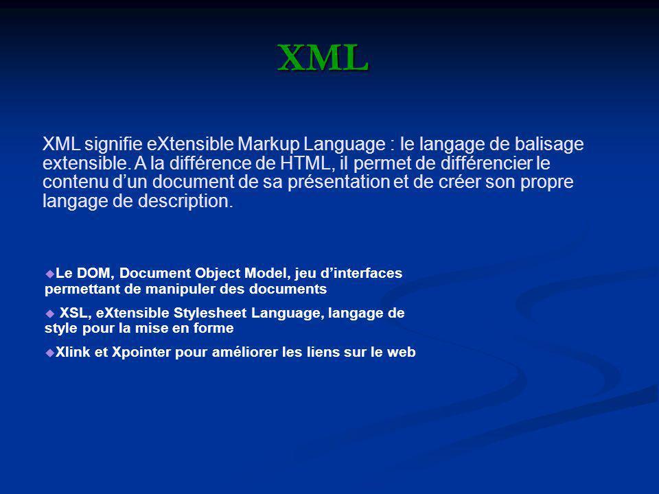XML signifie eXtensible Markup Language : le langage de balisage extensible. A la différence de HTML, il permet de différencier le contenu dun documen